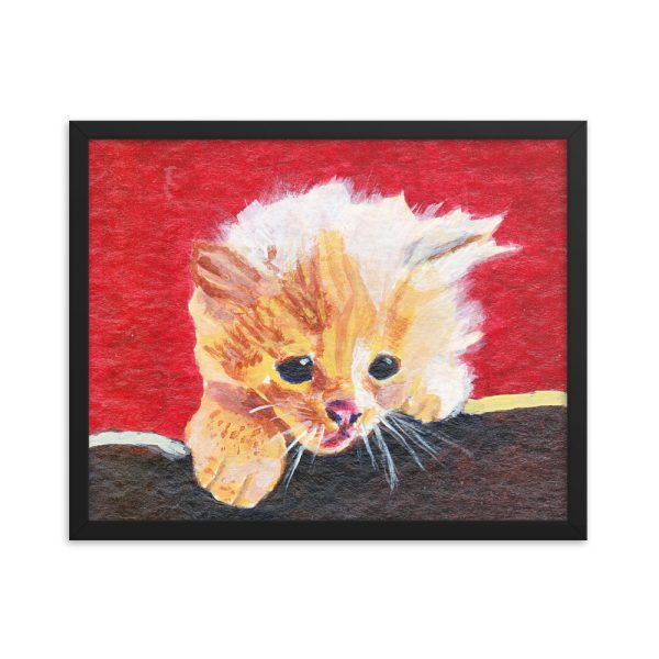Naughty Kitten Framed Print Wall Art