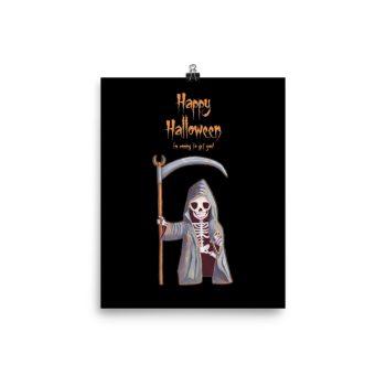 Dwarf Grim Reaper Happy Halloween Poster Print Wall Art