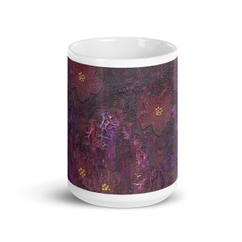 Purple Mixed Media Texture 15oz Ceramic Coffee Mug