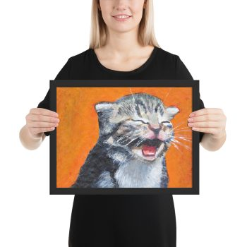 Cute Laughing Kitten Framed Print Wall Art