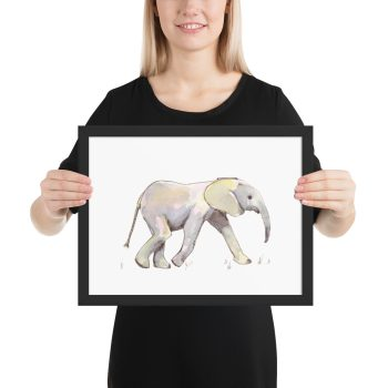 Baby Elephant in Pastel Framed Print Wall Art
