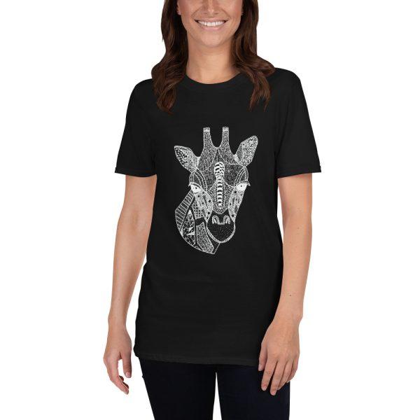 Woman wearing black tshirt | Giraffe Head Doodle Zentangle T-shirt