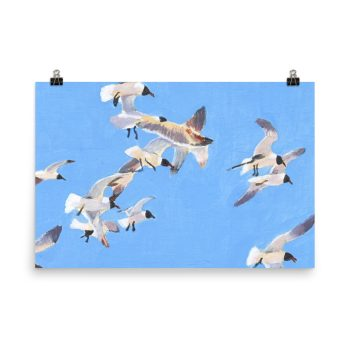 Flock of Seagulls Painting Poster Print Wall Art