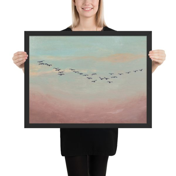 Flock of Birds in Distance Painting Framed Print Wall Art