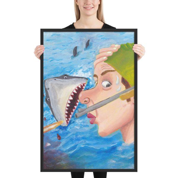Whew Shark Shock Framed Print Wall Art