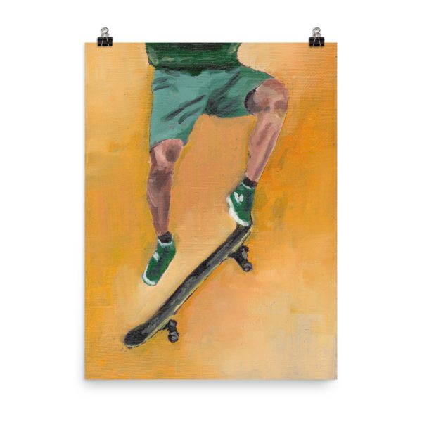 Skateboarder in Green Poster Print Wall Art