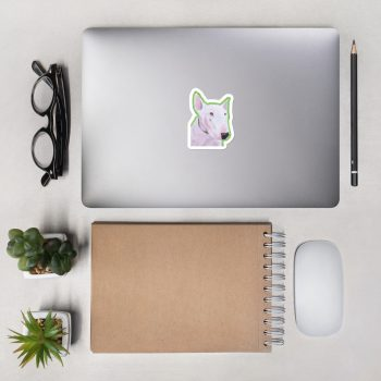 English Bull Terrier Sticker | 3 x 3 inch Kiss Cut Vinyl Sticker