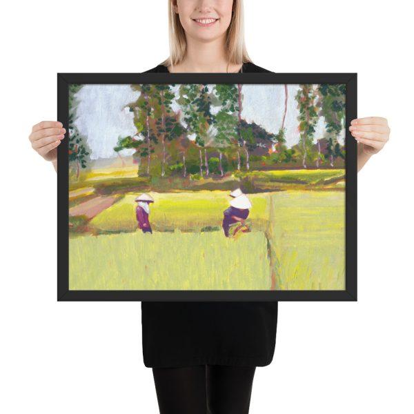 Vietnamese Paddy Fields Painting Framed Print Wall Art