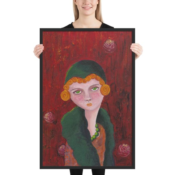 Lady with Orange Curls, Mixed Media Painting, Framed Print Wall Art