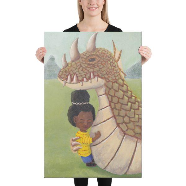 Girl and Guardian Dragon Canvas Print Wall Art