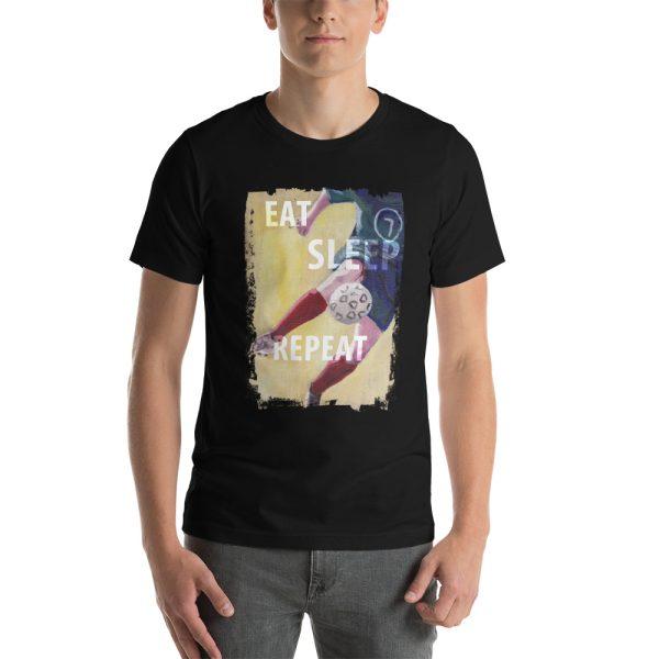 Man wearing black tshirt | Eat Sleep Soccer Football Repeat T-shirt