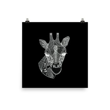 Giraffe Head Zentangle Doodle Poster Print Wall Art