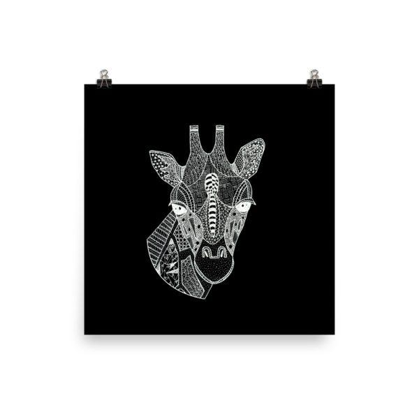 Giraffe Head Zentangle Doodle Poster Print Wall Art