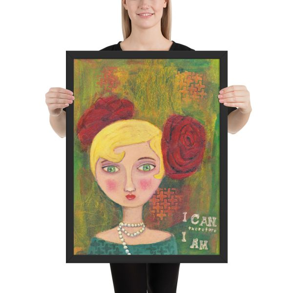 Mixed Media Lady, Portrait Painting, Framed Print Wall Art