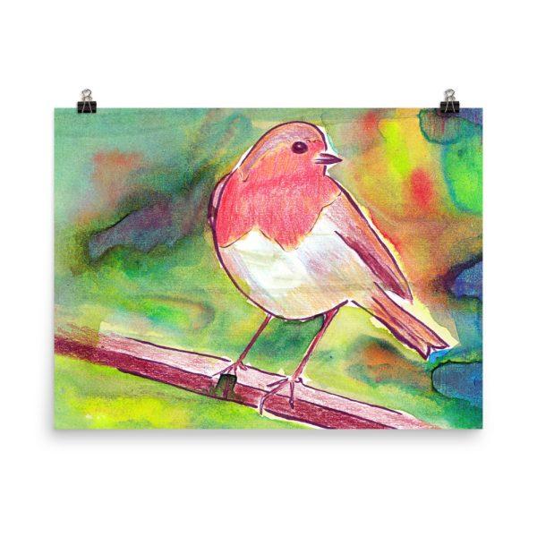 Robin Redbreast Painting Poster Print Wall Art
