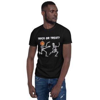 Man wearing Trick or Treat Running Skeletons Halloween Black Tee T-shirt tshirt