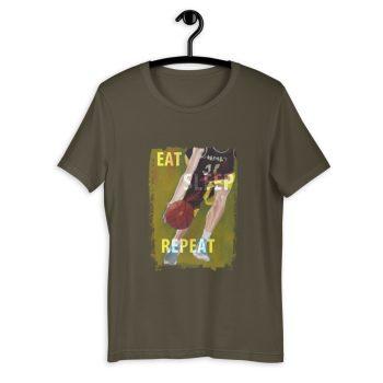 Khaki Green tshirt | Eat Sleep Basketball Repeat T-shirt