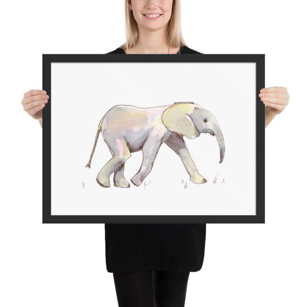 Baby Elephant in Pastel Framed Print Wall Art