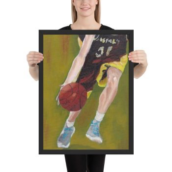 Basketball Player and Ball Framed Print Wall Art