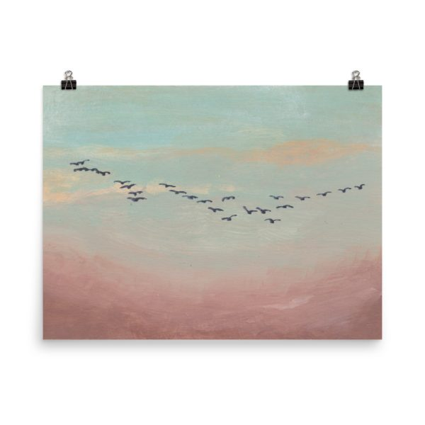 Flock of Birds in Distance Painting Poster Print Wall Art