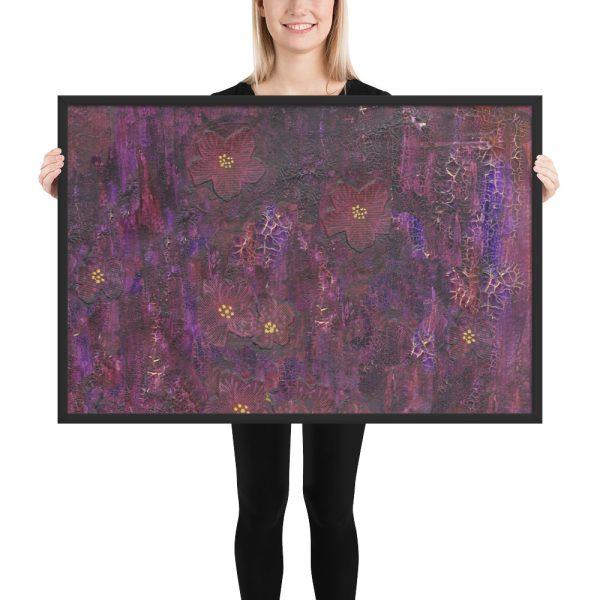 Purple Mixed Media Texture Framed Print Wall Art