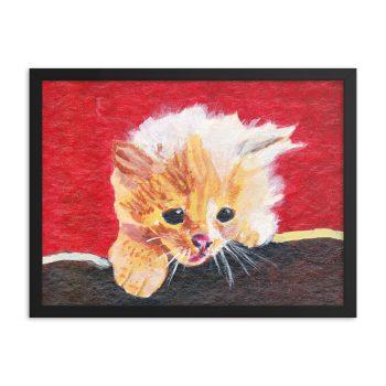 Naughty Kitten Framed Print Wall Art