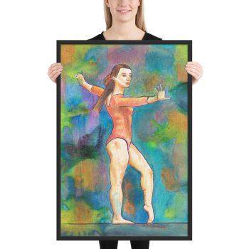 Gymnast on Print Painting Framed Print Wall Art