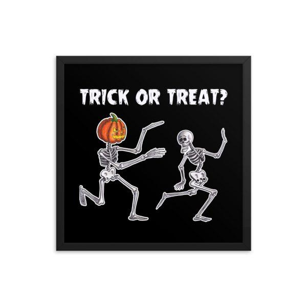Trick or Treat Halloween Running Skeletons Framed Print Wall Art
