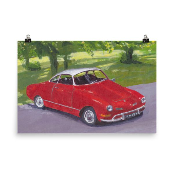 Classic Red Car in Greenwich Park Poster Print Wall Art