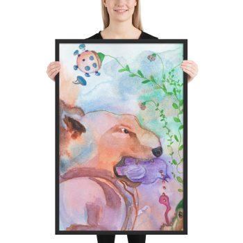 The Purple Bird Framed Print Wall Art