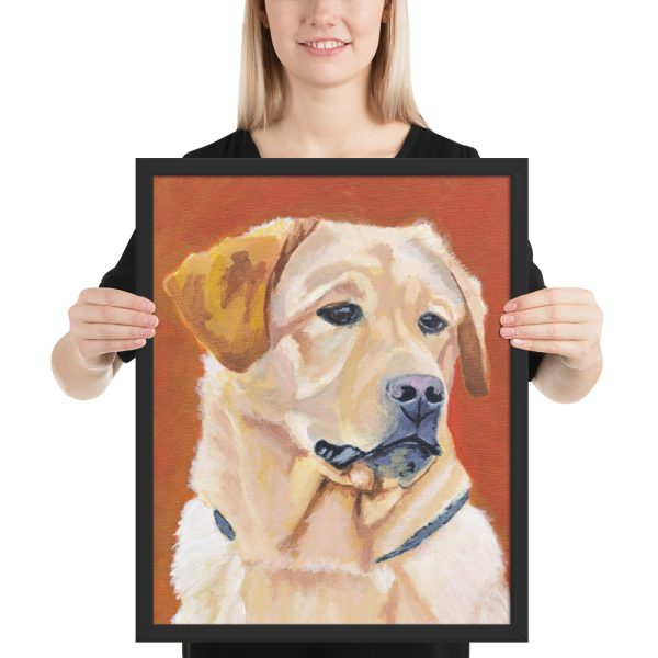 Dog on Orange Background Framed Print Wall Art