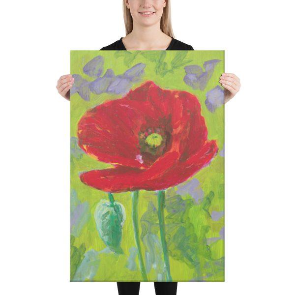 Red Poppy Flower Canvas Print Wall Art