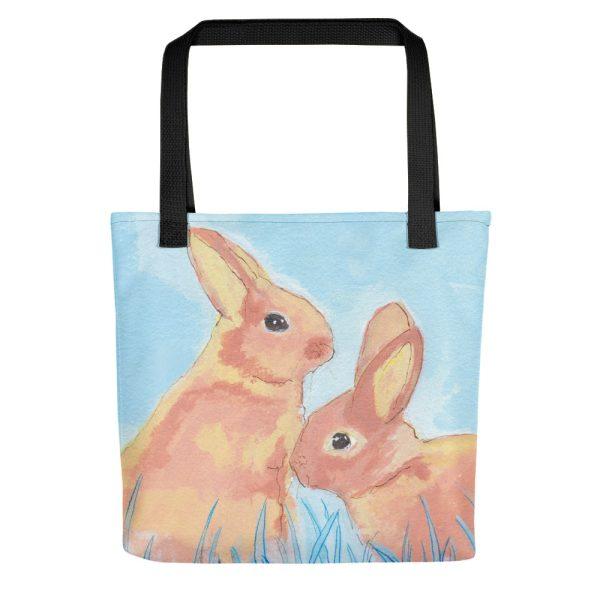 Pastel Bunnies on Blue Tote Bag