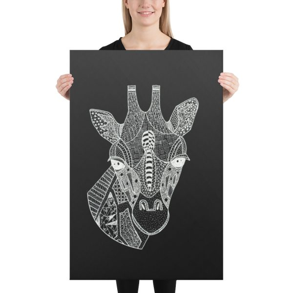 Giraffe Head Zentangle Doodle Canvas Print Wall Art