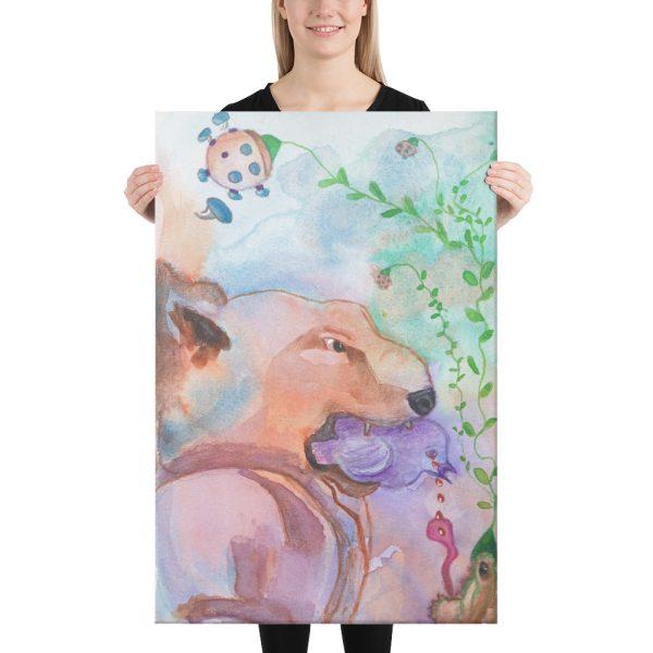 The Purple Bird Canvas Print Wall Art