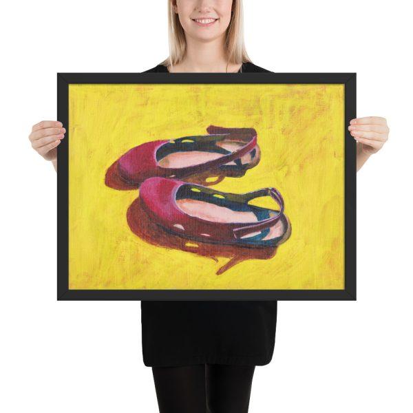 Raspberry Summer Sandals, Still Life Painting Framed Print Wall Art