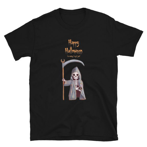 Black tshirt | Dwarf Grim Reaper Happy Halloween T-shirt