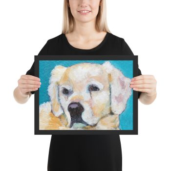 White Puppy on Blue Framed Print Wall Art