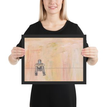 Social Distance Sitting with Mask Painting, Framed Print Wall Art