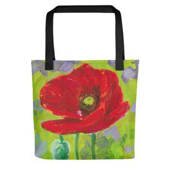 Red Poppy Flower Tote Bag
