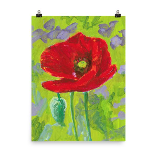 Red Poppy Flower Painting Poster Print Wall Art