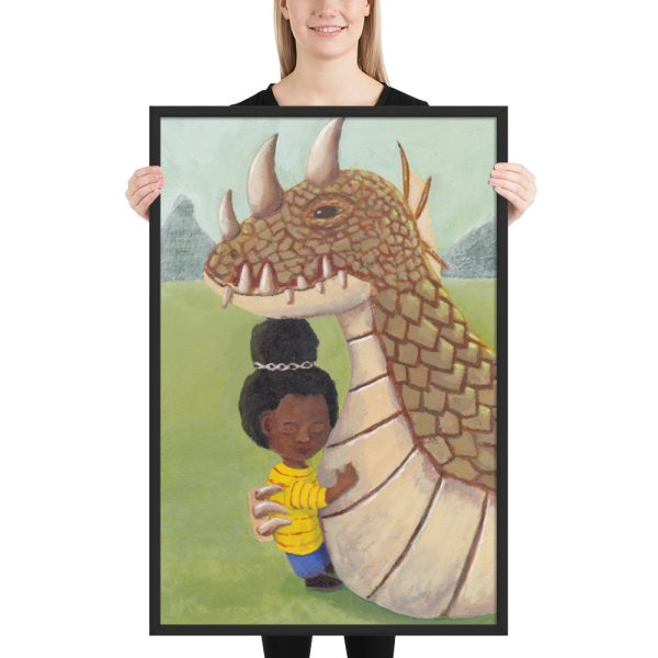 Girl and Guardian Dragon Framed Print Wall Art