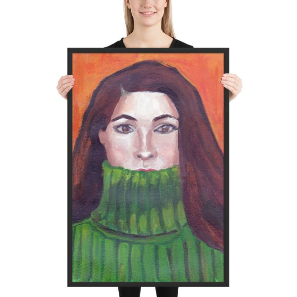Green Turtleneck, Portrait Painting, Framed Print Wall Art