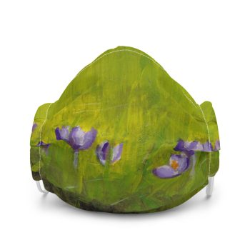 Purple Crocus Flowers in Grass Face Mask