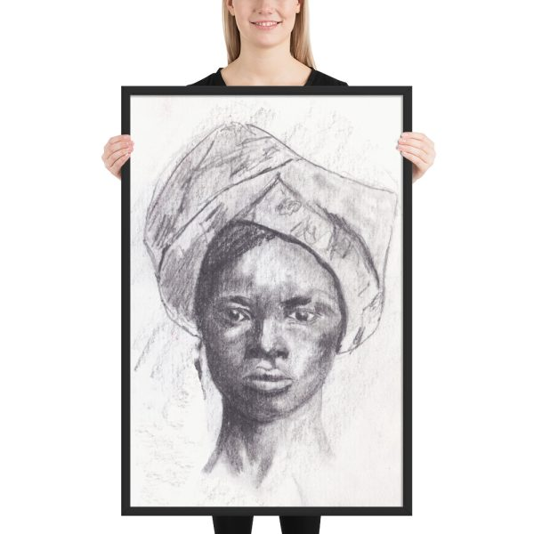 African Woman in Head Tie, Portrait Painting, Framed Print Wall Art