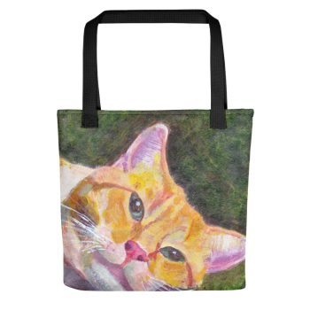 Ginger Tabby Cat Relaxes Tote Bag
