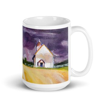 Cottage, Purple Sky and Yellow Fields 15oz Ceramic Coffee Mug
