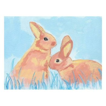 Pastel Bunnies on Blue Painting Poster Print Wall Art