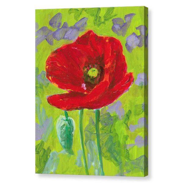 Red Poppy Flower Canvas Print Wall Art 12x16
