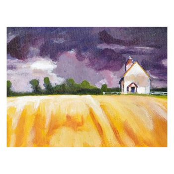 Cottage, Yellow Fields and Purple Sky Painting, Poster Print Wall Art